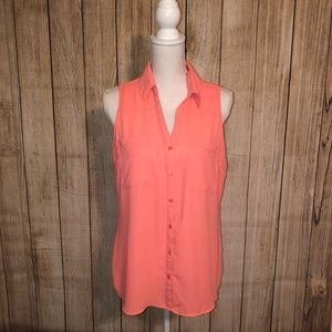 EUC Express Collared Tank Blouse Hot Coral Large